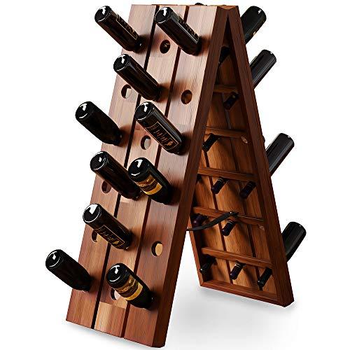 Deuba® Scaffale per vino | finitura in legno duro di acacia | 36 bottiglie | dimensioni 87 x 40 x 55 cm
