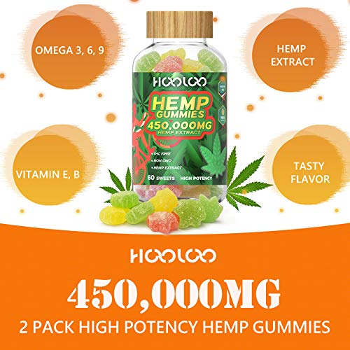 Hemp Gummies - HOOLOO 450,000MG Fruity Hemp Gummy for Relaxing, Reduce Stress Anxiety, Sleep Better - 2 Pack Natural Hemp Extract Gummies - Made in USA 4