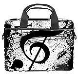 Bolsa de hombro para portátil con bolsillos de almacenamiento de accesorios (13,4 a 14,5 pulgadas), color blanco y negro