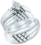 Sizes - L = 7, M = 10 - 14k White Gold Mens and Ladies Couple His & Hers Trio 3 Three Ring Bridal...