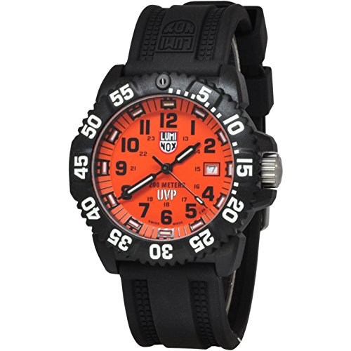 LUMINOX Men's Scott Cassell Watch Limited Edition (XS.3059.SET.BOXED / 3050 Series) Swiss Made with Black Band & Case and Orange Dial + 200 Metres Waterproof Diver Watch