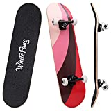 WhiteFang Skateboards 31' Complete Skateboard Double Kick Skate Board 7 Layer Canadian Maple Deck Skateboard for Kids and Beginners (Fun Passion)