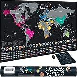 Bonanzana Carte du Monde à gratter XXL avec 25 Plats et 197 Drapeaux | Poster Mappemonde Foodies |...