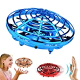 TMANGO UFO Hand-Controlled Drones Toys, Updated 5 Infrared Sensors & 2-Speed Interactive Flying Toys with 360°Rotating & LED Lights Helicopter for Kids, Boys & Girls(Blue)