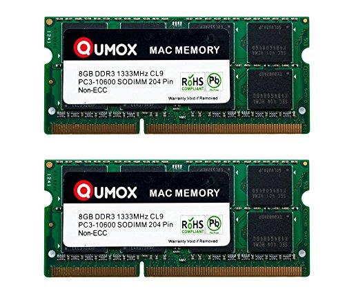 QUMOX PC3-10600 16GB (2x 8GB) 204-Pin 1333MHz DDR3 SODIMM Laptop Mac Memoria