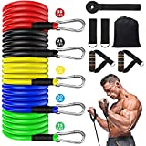 AIRIVO Resistance Bands Set (11 pcs), Elastic Workout Bands with Handles, Door Anchor, Foot Ring - Men Women Portable Home Exercise Accessories, Training, Physical Therapy Yoga Pilates