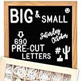 Felt Letter Board 10x10 (Black)   +685 PRE-Cut Letters +Stand +UPGRADED WOODEN Sorting Tray! Letters...