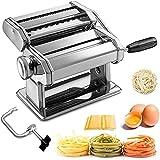 Sailnovo Machine à Pâtes Manuelles en Acier Inoxydable pour Faire Tagliatelle Spaghettis Lasagnes Ravioles 7 échelles
