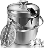 Jozo Ice Bucket Insulated with Tongs and Lids 3.4 Quarts for Parties and Bar, Stainless Steel Double Wall with Strainer