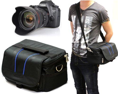 Navitech London デジタル一眼レフカメラ用クッションボックス内装カメラショルダーバック (Canon EOS Kiss X7 ダブルズームキット / Canon EOS 7D Mark II / OLYMPUS OM-D E-M10 EZダブルズームキット / Nikon D750 24-120 VR レンズキット / Nikon D5500 ダブルズームキット / Canon EOS 5Ds R / Sony α7R II ILCE-7RM2 / FUJIFILM X-T10 レンズキット / Nikon D7200 / PENTAX K-5 II 18-135WR レンズキット / Panasonic LUMIX DMC-GH4 / Canon EOS 7D Mark II EF-S18-135 IS STM レンズキット / Canon EOS 6D EF24-70L IS USM レンズキット (OLYMPUS OM-D E-M10 EZダブルズームキット)
