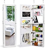 Titan Mall Jewelry Cabinet Wall Door Mounted Jewelry Organizer Mounted Lockable Jewelry Armoire Organizer with Full-Length Mirror Dressing Mirror Makeup Jewelry Storage(White)