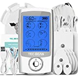 TENS EMS Unit Muscle Stimulator with 8 Electrode Pads, TEC.BEAN 16 Modes Rechargeable Electric Pulse Massager Pain Relief Tens Machine for Back, Neck, Arm & Leg - FDA Approved for Home Office Sport
