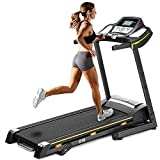 Folding Running Treadmill Soft Drop,JULYFOX Incline Quiet Electric 2.25 HP Motorized Home Running Walking Jogging Exercise Machine W/Heart Rate Monitor Cup Holder Safety Key