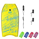 WOOWAVE Bodyboard 33-inch/36-inch/41-inch Super Lightweight Body Board with Coiled Wrist Leash, Swim Fin Tethers, EPS Core and Slick Bottom, Perfect Surfing for Kids Teens and Adults(36 inch, Yellow)