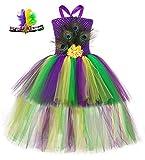 Tutu Dreams Baby Girl Mardi Gras Costumes Peacock Feathers Green Purple Yellow Tutu Outfit 1st Carnival Festivities (Mardi Gras, Small(1-2T))