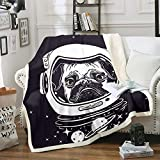 Homewish Space Dog Throw Blanket Pug in an Astronaut's Helmet Bed Throws for Kids Outer Space Theme Flannel Fleece Blanket for Couch Sofa Lightweight Fuzzy Blanket, Queen Size (90 x 90 Inches)