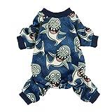 Fitwarm Shark Pet Clothes for Dog Pajamas Cat Jumpsuit PJS Apparel Lightweight Velvet Blue Small
