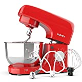 Kuppet Stand Mixers, 8-Speed Tilt-Head Electric Food Stand Mixer with Dough Hook, Wire Whip & Beater, Pouring Shield, 4.7QT Stainless Steel Bowl - Red