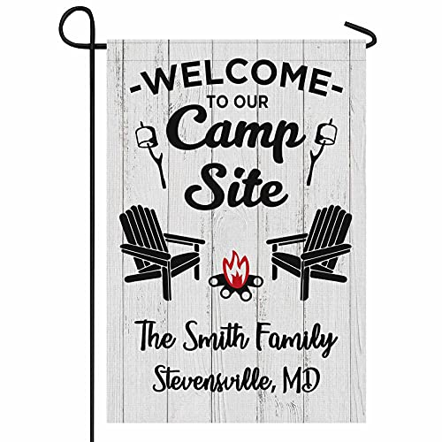 FunStudio Personalized Camper Camping Garden Flag Welcome to Our...