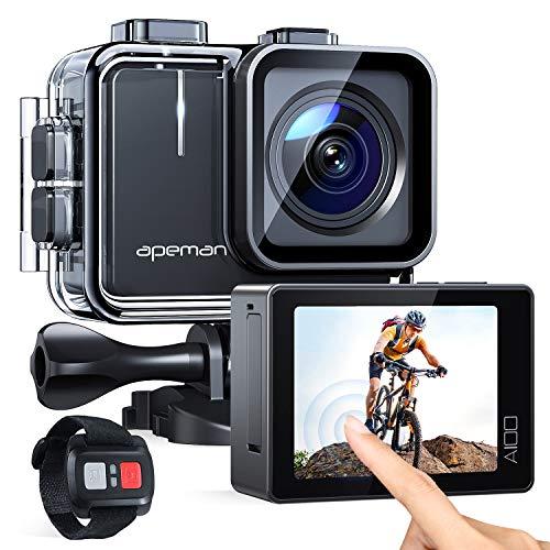 APEMAN Action Cam A100, Touch Screen Nativo 4K/50FPS 20MP WiFi Impermeabile 40M Fotocamera, Avanzato Sensore Super EIS Stabilizzata Videocamera, Telecomando con 2 1350mAh Batterie