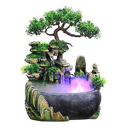 Jeffergarden Zimmerbrunnen Indoor & Outdoor Brunnen Wasserfall Tischbrunnen Dekoration Wasserspiel Mit Farbwechsel Led Beleuchtung Zen Meditation Wasserfall(EU 220V)