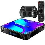 TV Box Android10.0 4GB RAM 64GB ROM Set Top Box Smart TV Box RK3318 USB 3.0 1080P Ultra HD 4K HDR WiFi 2.4GHz 5.8GHz BT 4.1 Android TV Box con Mini Tastiera Senza Fili Retro Illuminata