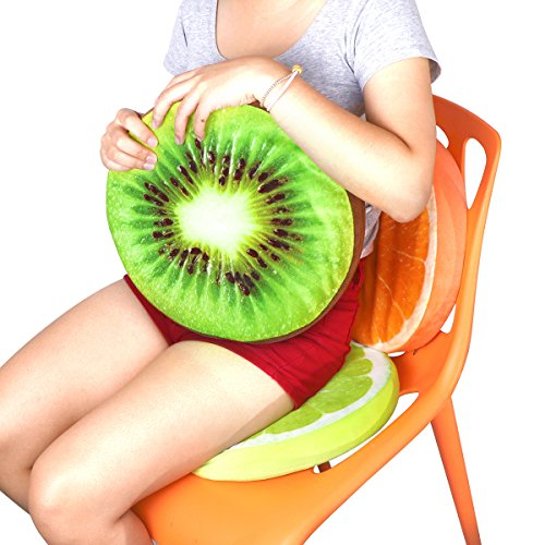 OurLeeme Cojín Redondo Suave de la Almohadilla del Asiento de la Fruta de limón de la Felpa de la Almohada Kiwi