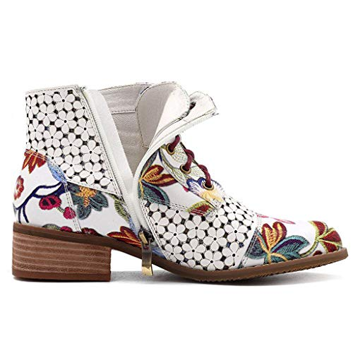 Botines con Cordones Cuero Mujer Estampado Floral de Tinta Botas Tacón Medio Botas Botita Moda Antideslizante Zapatos Otoño Invierno Comodos Suede 35-43 riou