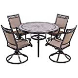 dali Outdoor 5 Piece Dining Set Patio Furniture, Aluminum Swivel Rocker Chair Sling Chair Set with 46 inch Round Mosaic Tile Top Aluminum Table