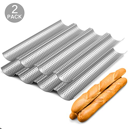 2 Pack Nonstick Perforated Baguette Pan 15' x 13' for French Bread Baking 4 Wave Loaves Loaf Bake Mold Oven Toaster Pan (Silver)