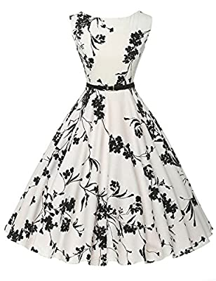 Features: Sleeveless, Boatneck, A-Line silhouette, Concealed zipper at back, All kinds of patterns Occasions: The sleeveless a-line dress is perfect for daily casual, ball, party, church, wedding guest, homecoming, banquet and other occasions Hand Wa...