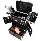 KKJKK Grande Profesional Maquillaje Caja de la Carretilla Equipaje Estuches para Cosméticos Aluminio Laminación Maquillaje Caja del Tren de Salón Peluquero Viaje Portátil Caja de Cosméticos