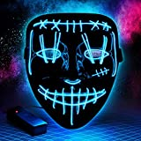Halloween Purge LED Mask Costume Festival Parties Scary Mask Light Up Creepy Masks for Adults Kids (Blue-1)