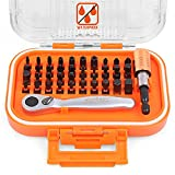 SEDY 42 Pieces Mini Ratchet and Bit Set, Waterproof Case 1/4-Inch Mini Ratchet Screwdriver and S2 Bits Kit with Extension Bit Holder, Pocket Size