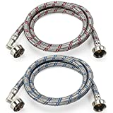 Cenipar Washing Machine Hoses 6feet Premium Stainless Steel with 90 Degree Elbow, Burst Proof (cost-effective 2 pack) Red and Blue Striped Water Connection Inlet Supply Lines
