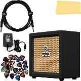 Orange Crush Mini Guitar Combo Amplifier - Black Bundle with Power Supply, Instrument Cable, 24 Picks, and Austin Bazaar Polishing Cloth