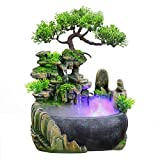 SURPRIZON Indoor Relaxation Desktop Fountain Waterfall, Zen Meditation Indoor Waterfall Feature with Automatic Pump, Illuminated Waterfall for Home Office Bedroom Desk Décoration (Upgrade)