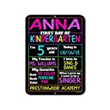 First Day of School Rainbow Stars Chalkboard Style Photo Prop Tin Sign - 9 x 12 inch Reusable Easy Clean Back to School - USE Liquid Chalk Markers to Customize (Not Included)