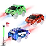 Tracks Cars Replacement only, Toy Cars for Magic Tracks Glow in The Dark, Racing Car Track Accessories with 5 Flashing LED Lights, Compatible with Most Car Tracks for Kids Boys and Girls(3pack)