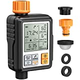 Homitt Programmable Water Timer,3' Large Screen/IP65 Waterproof/Child Lock Mode/Auto&Manual Mode/Rain Delay/Upgrade Material,Hose Timer Sprinkler Timer Faucet Digital Watering Timer for Garden Lawn
