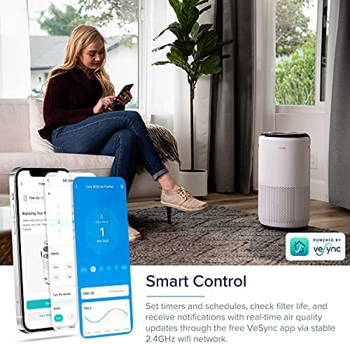 LEVOIT Air Purifier for Home Large Room, Smart WiFi and Alexa Control, H13 True HEPA Filter for Allergies, Pets, Smoke, Dust, Auto Mode, PM2.5 Display, Core 400S, 403 sq.ft, White 16
