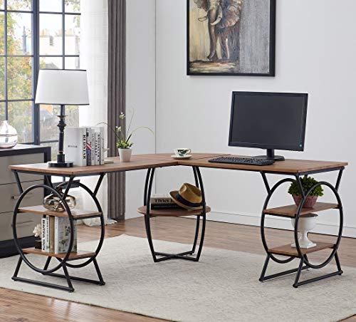 O&K Furniture Large L-Shaped Desk Corner Computer Desk with Storage...