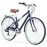 sixthreezero Reach Your Destination Women's Hybrid Bike with Rear Rack, 28 Inches, 7-Speed, Navy