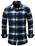 Pinkpum Homme Chemise en Coton à Carreaux Slim Fit Manches Longues Basic Business Loisirs Bleu 4 M