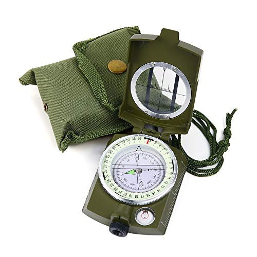 Sportneer Military Lensatic Sighting Compass with Carrying Pouch