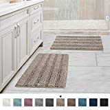 Original Luxury Chenille Bathroom Rug Mat, 17' x 24'/17' x 24', Extra Soft and Absorbent Shaggy Rugs, Machine Wash Dry, Perfect Plush Carpet Mats for Tub, Shower, and Bath Room, Taupe