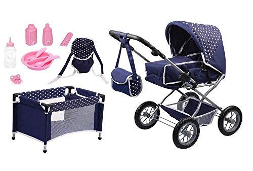 Bayer Design 15051AB Puppenwagen Grande Set mit Bett und Zubehör für Puppen, 46 cm, blau