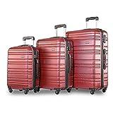 YINKUU Juego de 3 maletas de viaje de peso ligero con 4 ruedas (rojo)