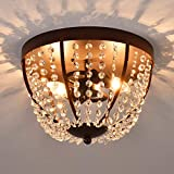 Berliget 12 Inch Industrial Brown Glam Chandeliers Crystal Flush Mount Ceiling Light, Ceiling Light Fixture with 2 Lights for Bedroom, Living Room, Corridor, Dining Room