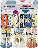 Baby Toddler Girls Grip Socks - Anti Slip Strap Socks 1-3 Year Old Gift Gripper Socks Animal Cartoon (1-3T)
